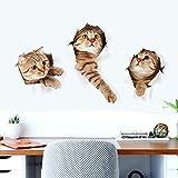 Kicode 3D tres gato pared Pegatina Adhesivos de baño de Chidren sala de estar Decoración de la etiqueta del fondo del cartel Combinación de dibujos animados