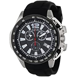 August Steiner Men's Rugged Power Chronograph Quartz Watch with Black Dial and Black Silicone Strap AS8003BK