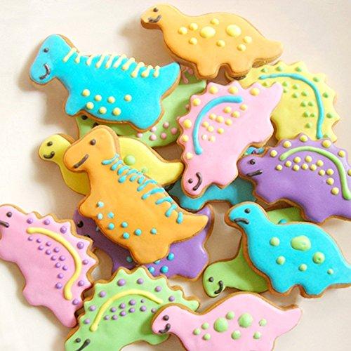 HelpCuisine Moldes galletas-Moldes bizcocho, Moldes de metal con forma de dinosaurio (4 unidades), ¡24 meses de garantia!