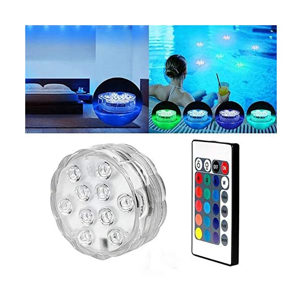 Artensky Aquarium LED Colorful Lights Underwater Remote Control Spotlight Decoration Fish Tank Party