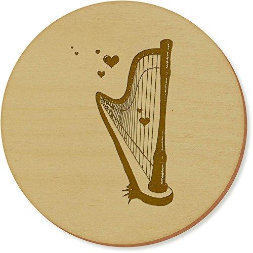 6 x 'Romantische Harfe' Runde Hölzerne Untersetzer (CR00096545)