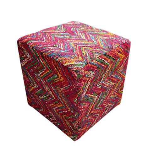 Hocker Sitz-Würfel Geometrie Design Solitaire Pouf 510 Bean Bag Zick-Zack Muster Baumwolle...
