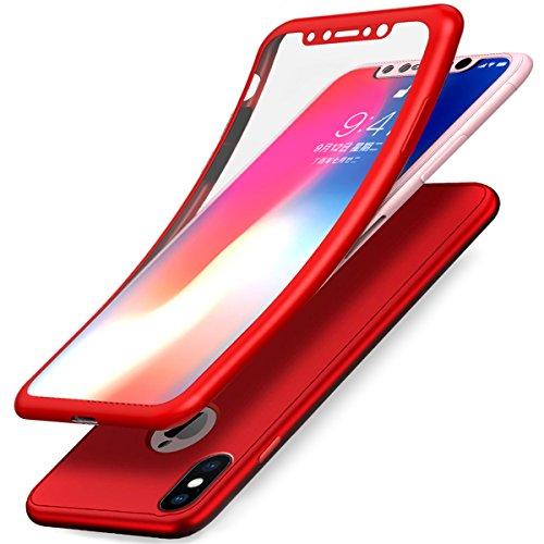 iPhone X Hülle,iPhone X Schutzhülle,ikasus Full-Body 360 Grad Panzerglas Schutzfolie TPU Silikon Hülle Handyhülle Tasche Case Front Back Double Beidseitiger Cover Schutzhülle für iPhone X,Rot