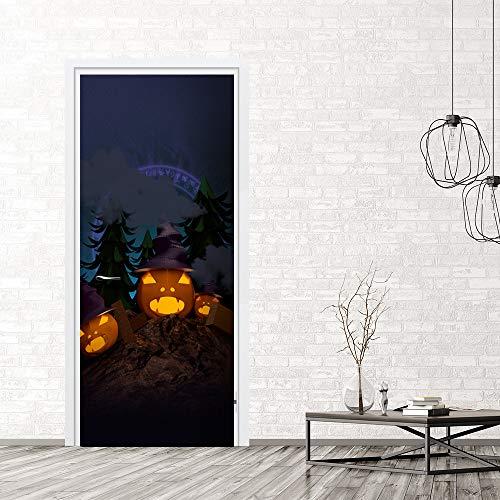 Zkamang Halloween Kürbis Friedhof Tür Aufkleber, Glas Fenster Aufkleber, kreative Partei Tür Renovierung Wandaufkleber