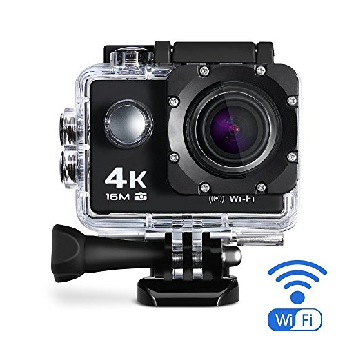 Tobole 4K Action Kamera 16MP Full HD 170 ° Weitwinkel Wasserdichte Sports Action Cam mit WIFI 2,0 Zoll LCD Unterwasserkamera 2 Batterien Helmkamera mit Zubehör Kits für Schwimmen, Motorrad Fahren, Surfen, Tauchen, draussen usw