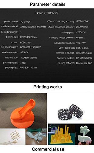 Tronxy Prusa i3 3D Drucker DIY Kit Full Metal Struktur mit MK3 Heatbed, Doppelventilatoren, HD LCD Display, Max Drucken Größe: 220 * 220 * 220 MM - 8