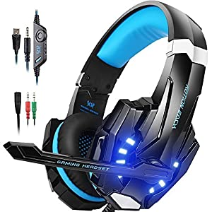 IMMOSO PS4 Headset , 3.5mm Surround Sound Headset mit Mikrofon ,Over-Ear Kopfhörer für PlayStation 4, Xbox One(s), Nintendo Switch ,  PC, MAC, Tablet, handy (Blau)