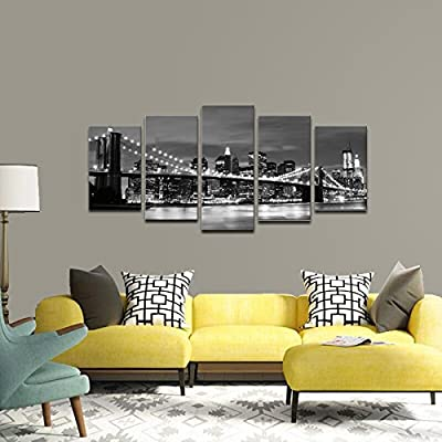 Wieco Art - Broooklyn Bridge Night View 5 Panels Modern Landscape Artwork Canvas Prints Abstract Pictures Sensation to Photo Paintings on Canvas Wall Art for Home Decorations Wall Decor