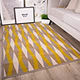 The Rug House Milan Moderner Teppich im Retro-Design mit Diamantmuster für Das Wohnzimmer in Ocker-, Gelb-, Grau- und Beigefarbtönen 120cm x 170cm