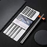 5 Paia bacchette Acciaio inossidabile, per hotel, ristoranti, Bacchette Giapponese Cinese Stile Sushi Regalo bacchette cinesi riutilizzabile , ecologico e sicuro, superficie liscia, alta qualità (Acciaio inossidabile)