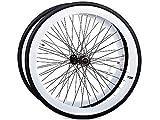 Laufrad Paar 700c Singlespeed Flip-Flop Felgenpaar Aluminium mit schwarzen Reifen (weiss)
