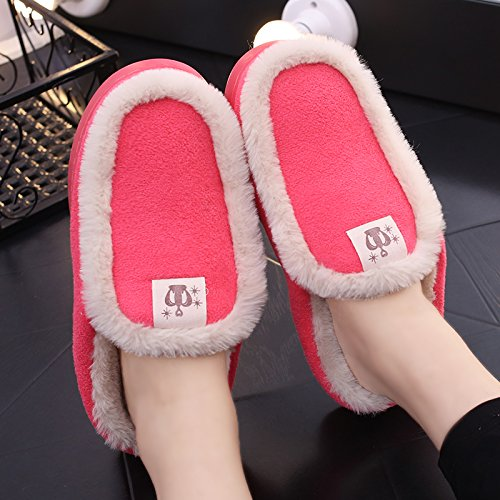 Aemember Invierno Par De Zapatillas De Algodón Bolsa Con Hombres Mujeres Zapatos Interior, Hogar Y Antideslizante Para Calzado Térmico De Invierno Sandía Roja