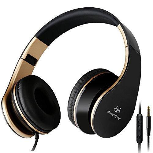 Sound Intone I65 2015 New pliable 3.5mm Salut-Fi stéréo cours de l'oreille pivotant Coupes Casque, Micro-casques stretch portable avec Ergonomie porter design Noise Cancelling, En ligne de contrôle du volume du microphone, pour PC / Smart Phone / iPhone6 / Ipad / Samsung / PSP / ipod / MP3 / Android