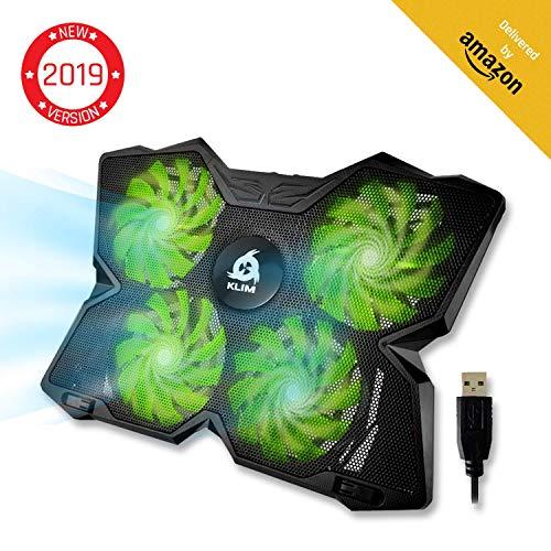 KLIM Wind Laptop Kühler - Leistungsstark Wie Kein Anderer - Schneller Kühlvorgang - 4 Lüfter PC Notebook PS4 - Belüfteter Laptop Ständer, Gamer Gaming Stützhalterung - 2019 Version - Grün -