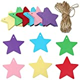 120 PCS Colored Gift Tags, 5.5CM Hang Paper Tags with 20 Meters String Perfect as Wedding/Price Tags; Gift Label(Colored)