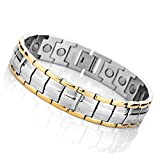 MunkiMix 3000g Magnetic Therapy Beads Stainless Steel Bracelet Hematite Silver Gold Men