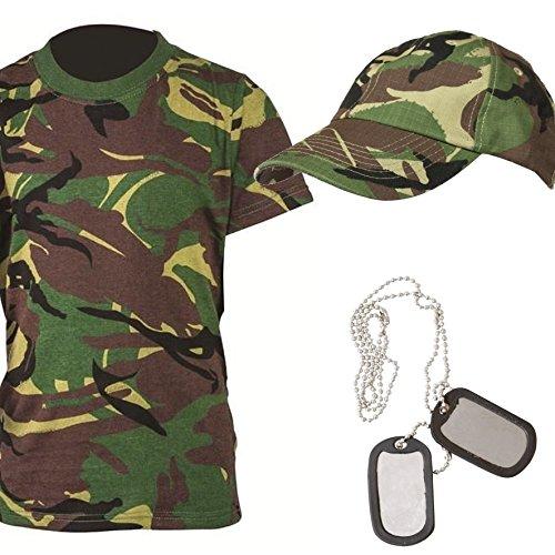 Kinder Camouflage Cap, T-Shirt und Erkennungsmarke Geschenk-Set Militär Kinder (Set 8) grün grün/camouflage 12-13 Jahre (Dog T-shirt Militär)
