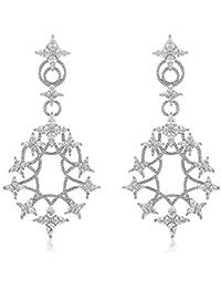 Shaze Silver Brass Shimmery Starry Earrings for Women