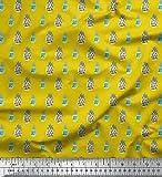 Soimoi Gelb Baumwoll-Voile Stoff Pinselstrich und Ananas