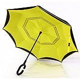 GAOYANG Kreativer Umgekehrter Regenschirm Kurvte Griffdoppel Undurchsichtiges Sonneschirm-Familienauto Leckt Regenschirm Nicht (Farbe : Amarillo (círculo))