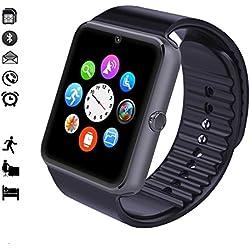 MallTEK Android Smartwatch Bluetooth con Slot per Scheda SIM / TF, Smart Watch 1.54 Pollici, Braccialetto Sportivo con Fotocamera, Funzione Pedometro, Sonno Monitor, Telecamera Remota ecc, Orologio Intelligente per Huawei, Doogee, Samsung, Lenovo, Sony, HTC e altro Smartphone Android (Nero)