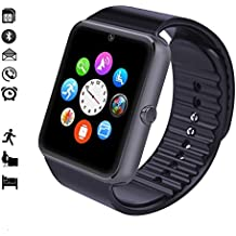 MallTEK Bluetooth Smart Watch avec SIM Carte Slot 1.54 pouces LCD Ecran Tactile Smartwatch Pédomètre Moniteur de Sommeil et Caméra pour Android Smartphone Nouvelle Montre Connectée (Noir)