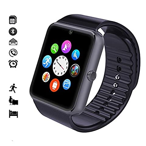 MallTEK Android Smartwatch Supporte SIM Carte et avec Caméra , Montre connectée 1.54 pouces, Smart Bracelet Android avec Fonction d'Appel, Notification Push, Podomètre, Moniteur de Sommeil, Bien Compatible pour Sony, Samsung, HTC, HUAWEI et d'autre Android Smartphone(Noir)