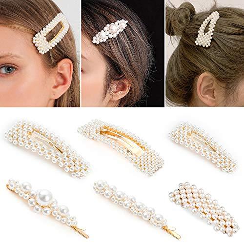 Whaline 6 Pcs Pearls Hair Clips, Faux Pearl Hair Pins for Women Wedding Girls Hair Barrettes Accessories