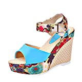 MOIKA Damen Sandale, Damen Keile Schuhe Absätze Knöchel Gurt Fallen Sommer Sandalen Party Strandschuhe(EU34,Blau