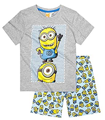 pyjama court enfant gar on les minions gris et bleu de 6. Black Bedroom Furniture Sets. Home Design Ideas