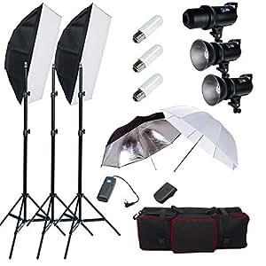 Professionnel 900W Flash kit studio LCD écran numérique puissance réglable, système de refroidissement équipé, avec softbox bowens, parapluie réflecteur et diffuseur, sac de transport