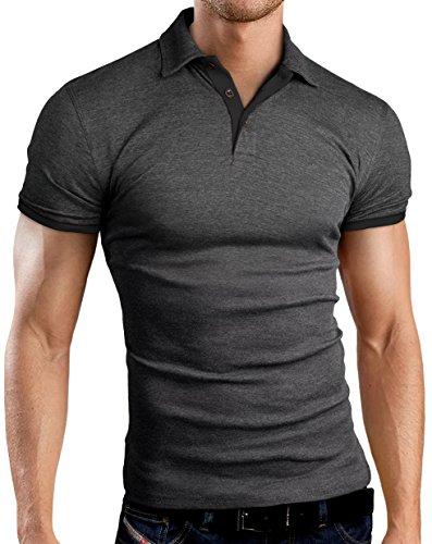 Grin&Bear Slim Fit kontrast Polohemd Poloshirt Polo, Anthrazit-Schwarz, M, GB160