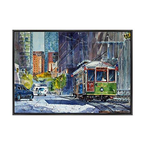 Krea Quadro auf Leinwand Canvas - gerahmt - zum Aufhängen - Chicago - WasserIllustrationen - Tram Metropole USA Dimensione: 70x100cm B - Colore Nero Moderno