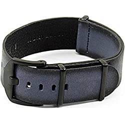 DASSARI Slater Distressed Italian Leather NATO Watch Strap w/ Matte Black Buckle in Blue 24mm