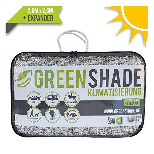GREENSHADE® ALUNETZ 2,5m x 2,5m - 6m² | 85% höchste Premium Reflektion | Sonnenschutz | Aluminet Hitzeschutz reduziert Wärmestauung (Auto Zelten)