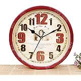 kinine Pared del hogar europeo reloj vintage de hierro solo sala de estar decorada con reloj de pared pintado
