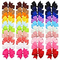 Baby Girls Grosgrain Ribbon Hair Bows with Alligator Clips and Tiny Hair Claws Small Multicoloured CELLOT-XY-36
