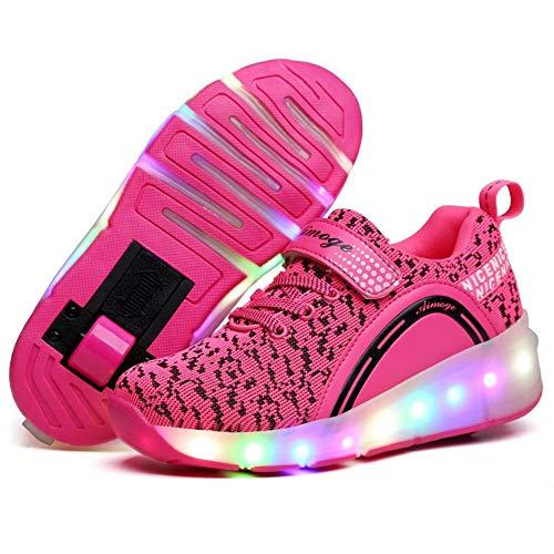 Homesave Skateboard Schuhe Kinderschuhe mit Rollen LED Skate Schuhe Roller Skate Shoes Rollen Schuhe Sneaker mit Rollen Kinder Jungen Mädchen,PinkSingle,34EU