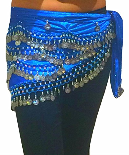 Bauch Tanz Hüftgürtel Schals Tanzen Kostüm Münze Hip Schals Gürtel FITS S M L - UK SIZE 8-12/16 (HIMMEL BLAU SILBER) (Plus Größen Bauch Tanzen Kostüm)