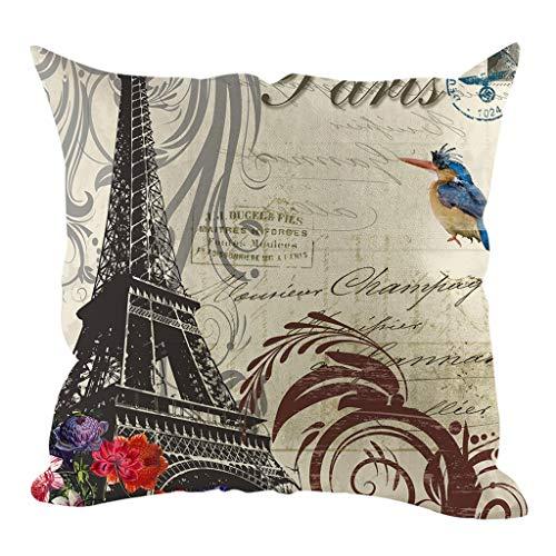 OPAKY Modern Style Eiffelturm Leinen Hug Kissenbezug Home Decoration 45x45cm
