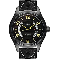 PARNIS Herren Fliegeruhr 3245 PVD schwarz Automatikuhr Saphirglas Datumsanzeige 10BAR massiv Edelstahl Ø43mm Miyota Uhrwerk