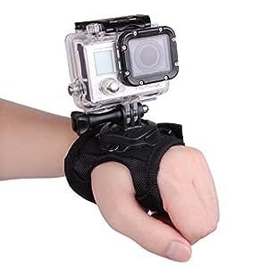 Andoer® 360 degrés de rotation Gant -style Mont Band Palm Strap sangle Accessoires pour GoPro Hero 4/3 + / 3/2/1 petite caméra