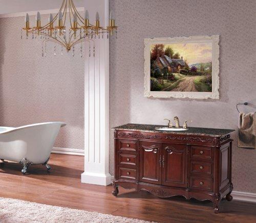 Single Vanity (56 Single Sink Vanity with Baltic Brown Marble Top by Stufurhome)