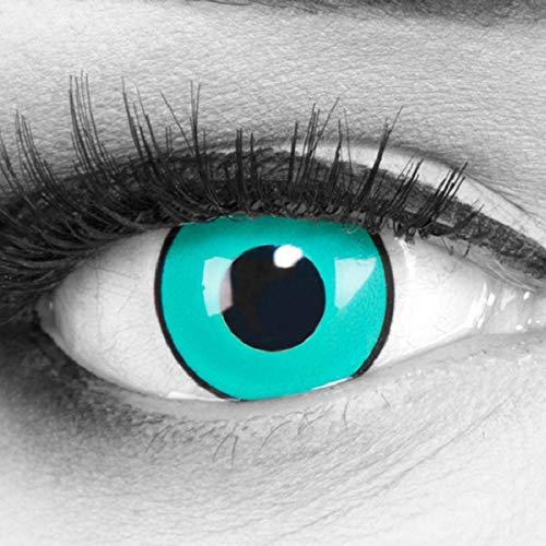 Kostüm Madara Rinnegan - Meralens 1 Paar Farbige Anime Manga Kontaktlinsen Ohne Stärke mit gratis Kontaktlinsenbehälter - Gaara in grün türkis schwarz perfekt zu Hereos of Cosplay, Halloween 12 Monatslinsen