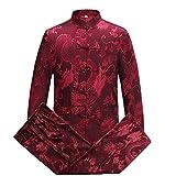 Airuiby Tuta Tang Uomini Abbigliamento Tradizionale Cinese Suits Hanfu Cotone Camicia a Maniche Lunghe Cappotto Uomo Top e Pantaloni (Rosso, Large)