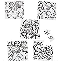 MunchieMoosKids Pack of 12 - Colour Your Own Superhero Puzzles - Super Heroes Party Loot Bag Fillers Teacher Rewards