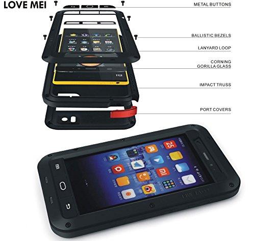 Love Mei Schutzhülle für Xiaomi 3, Schock/Wasserdicht Aluminium Metall Gorilla Glas Schwarz mit Rot