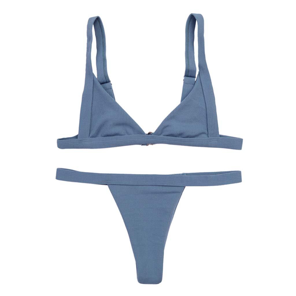 vendita calda online b73e3 37cb7 VIccoo Bikini Donna Sexy a Due Pezzi con Scollo a V, Triangolo Non  Imbottito, a Vita Bassa, Perizoma, Senza Cuciture, a Righe Verticali,  Costume da ...