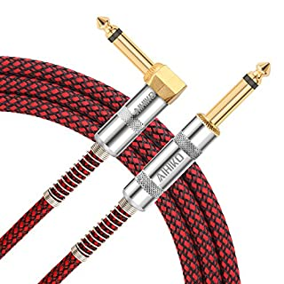AIHIKO Guitar AMP Lead 10Ft/3m Instrument Cable Braided TS Mono 1/4 Right Angle to Straight Jack with Gold Plugs for Bass and Keyboard, Red Black Tweed