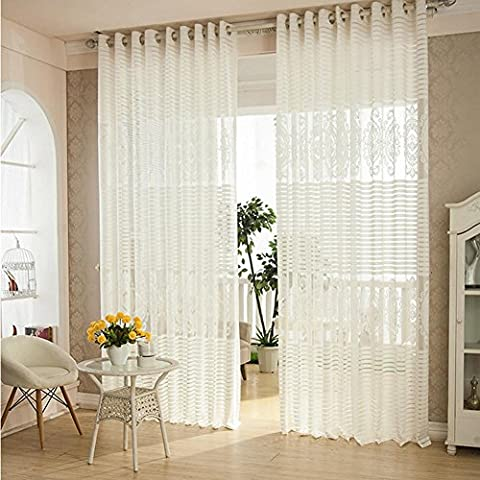 Sheer Curtains Embroidered Flower Curtains Bedroom for Living Room Tulle Window Curtains 200cmx270cm(80x108-inch)-1 Piece , 3 wide *2.7 high